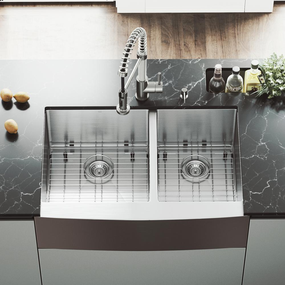 VIGO All-in-One 33 in. Stainless Steel 60/40 Double Bowl Undermount Kitchen  Sink with Pull Down Faucet in Stainless Steel