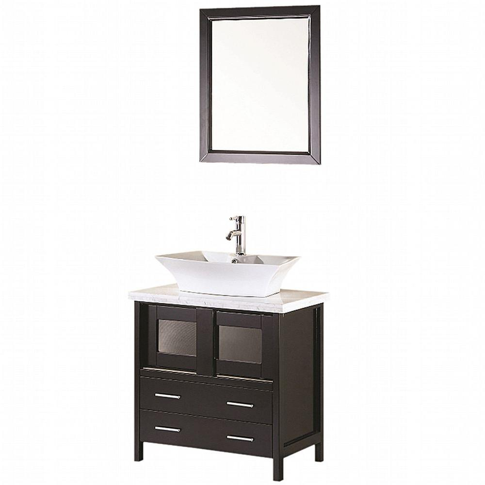 Design Element Elite 30 in. Vanity in Espresso with Marble Vanity Top in Carrera White and Mirror-DISCONTINUED