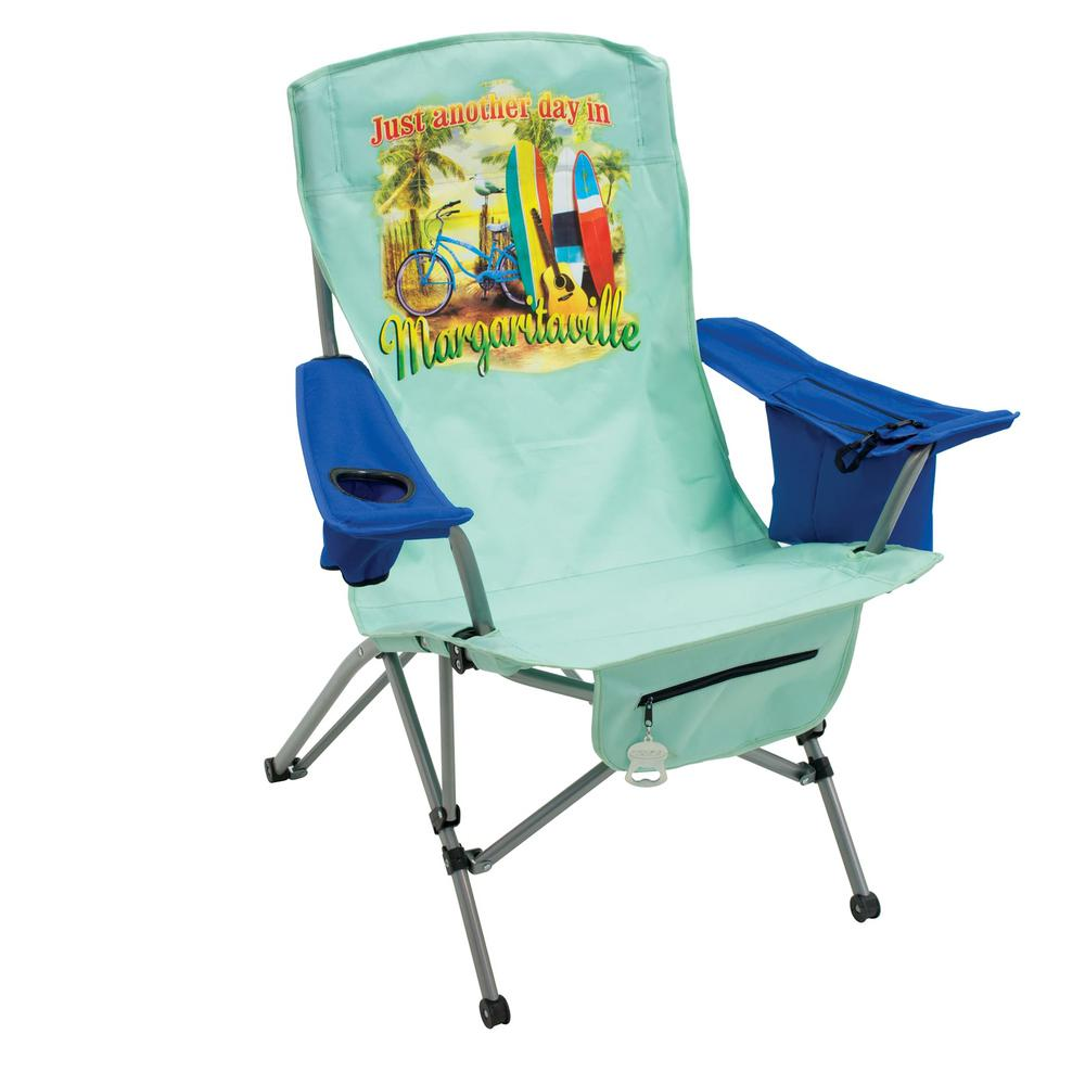 Just Another Day in Paradise Green/Blue Steel Tension Lawn Chair