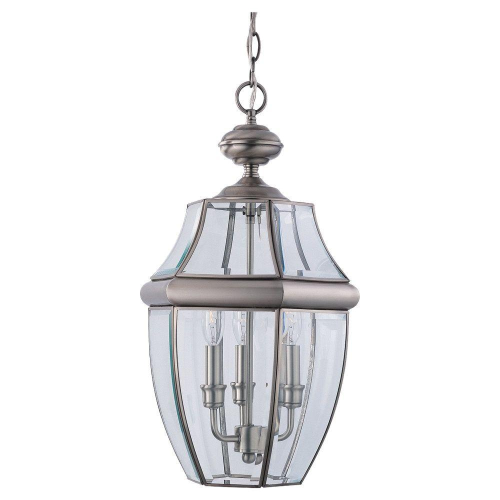Sea Gull Lighting Lancaster 3 Light Antique Brushed Nickel Outdoor Pendant