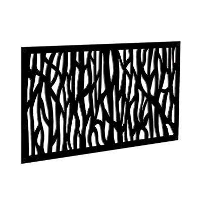 4 ft. x 2 ft. Black Sprig Polymer Decorative Screen Panel