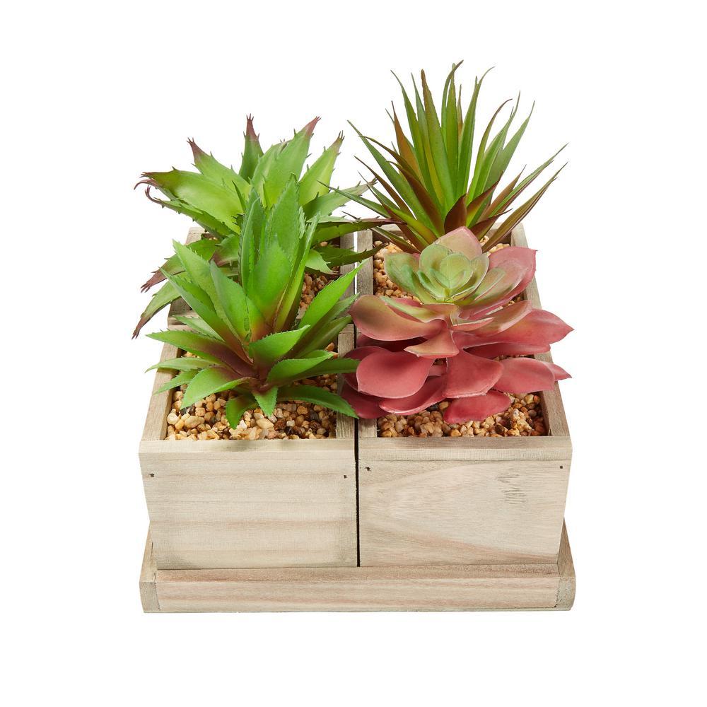 4-Piece Faux Succulent Arrangement with Decorative Wooden Box
