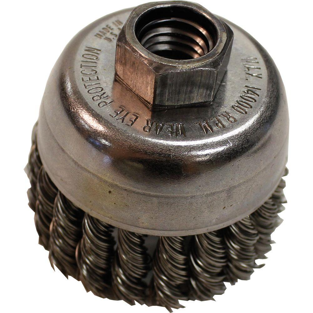 """2‑3/4 in. Knot Wire Cup Brush, 5/8""""‑11 arbor for use with"""