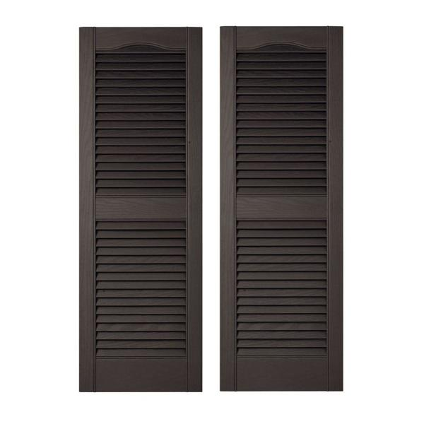 Builders Edge 15 In X 64 In Louvered Vinyl Exterior Shutters Pair In 002 Black 010140064002 The Home Depot