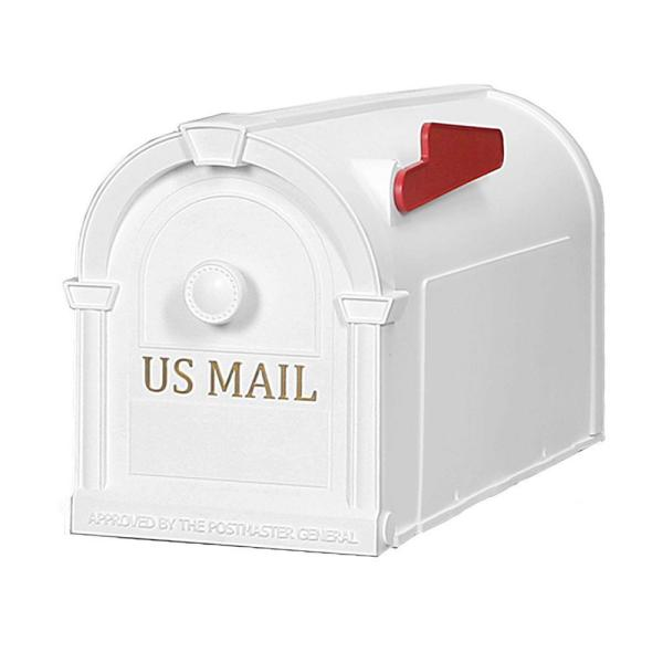 Hampton Post-Mount Mailbox, White with Gold Lettering