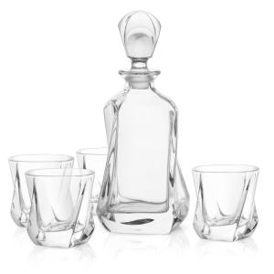 Deals on JoyJolt 25oz Aurora Crystal Whiskey Decanter w/Glasses