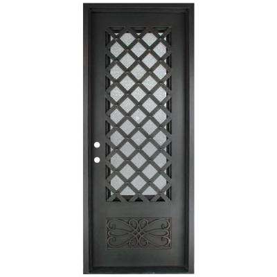 40 in. x 97.5 in. Luce Lattice Classic 3/4 Lite Painted Oil Rubbed Bronze Hammered Wrought Iron Prehung Front Door