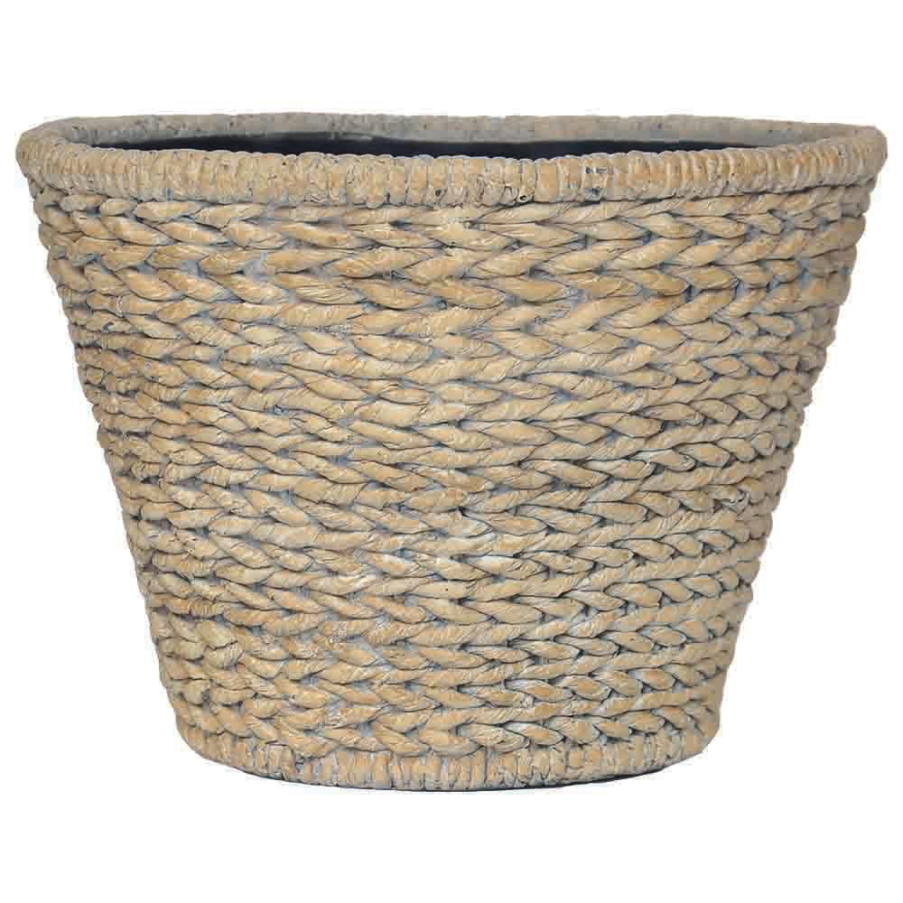 13.5 in. D Composite Round Nesting Faux Woven Pot in White Washed Beige