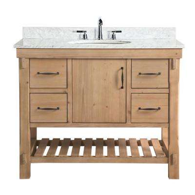 Marina 42 in. Single Vanity in Driftwood with Marble Vanity Top in Carrara White