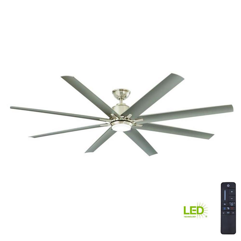 Home Decorators Collection Kensgrove 72 in. Integrated LED Indoor/Outdoor Brushed Nickel Ceiling Fan with Light Kit and Remote Control