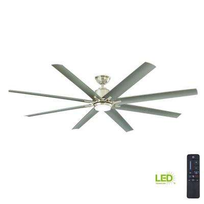 Integrated Led Indoor Outdoor Brushed Nickel Ceiling Fan With Light Kit
