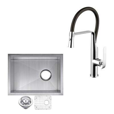All-in-One Undermount Stainless Steel 15 in. Single Bowl Bar Sink with Faucet in Chrome Sink Kit