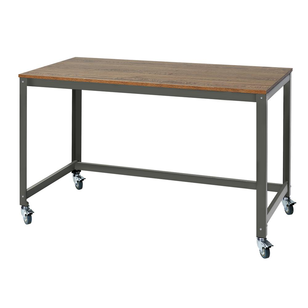 Onespace loft writing desk with steel frame wood surface