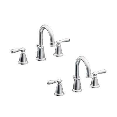 Banbury 8 in. Widespread 2-Handle Bathroom Faucet in Chrome (2-Pack)