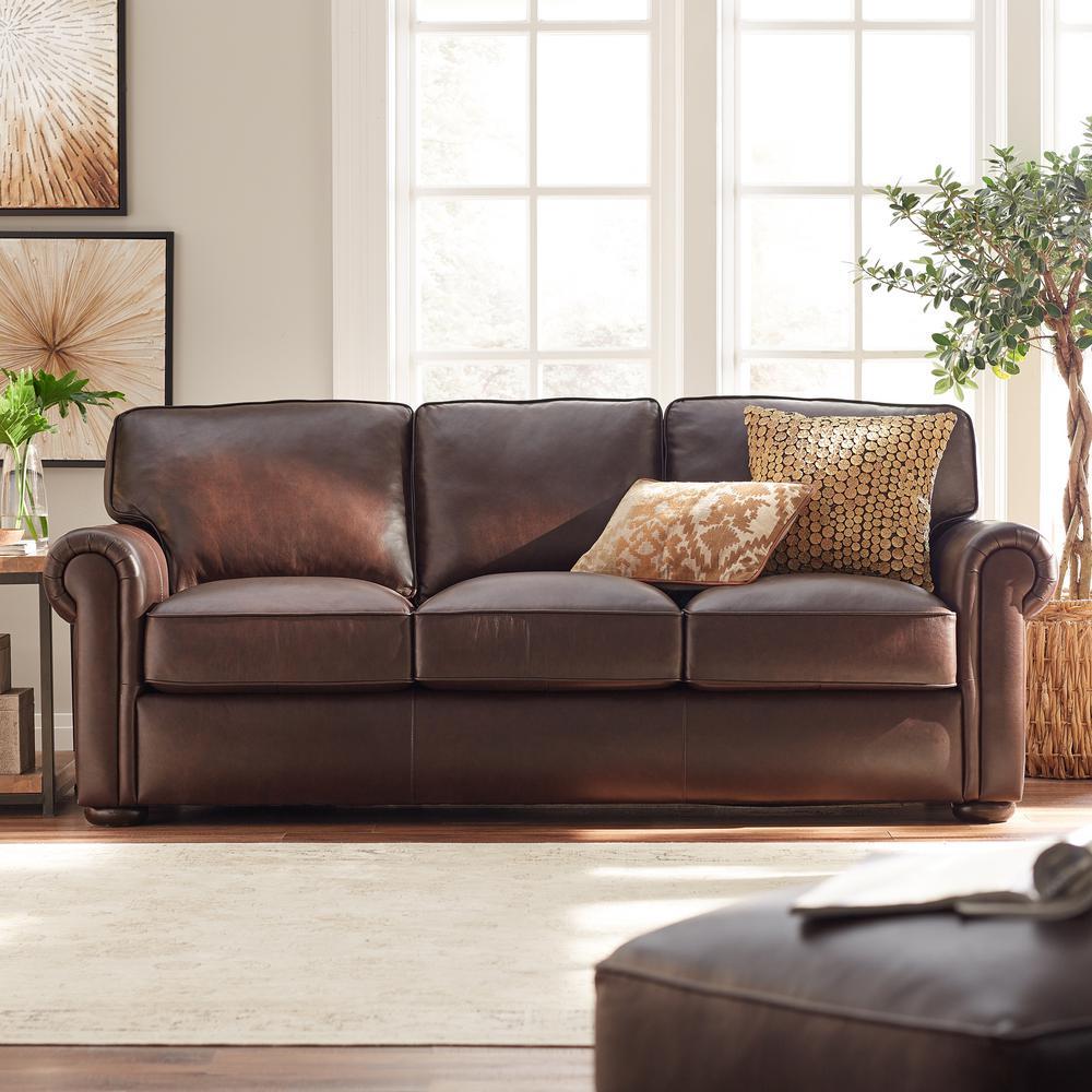 Home Decorators Collection Alwin Chocolate Italian Leather ...