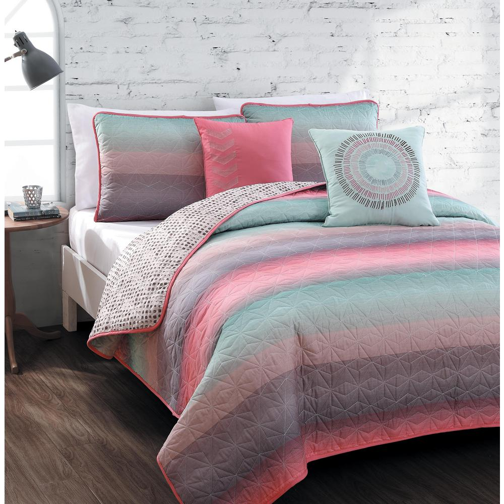 Cypress 5-Piece Coral/Blue King Quilt Set
