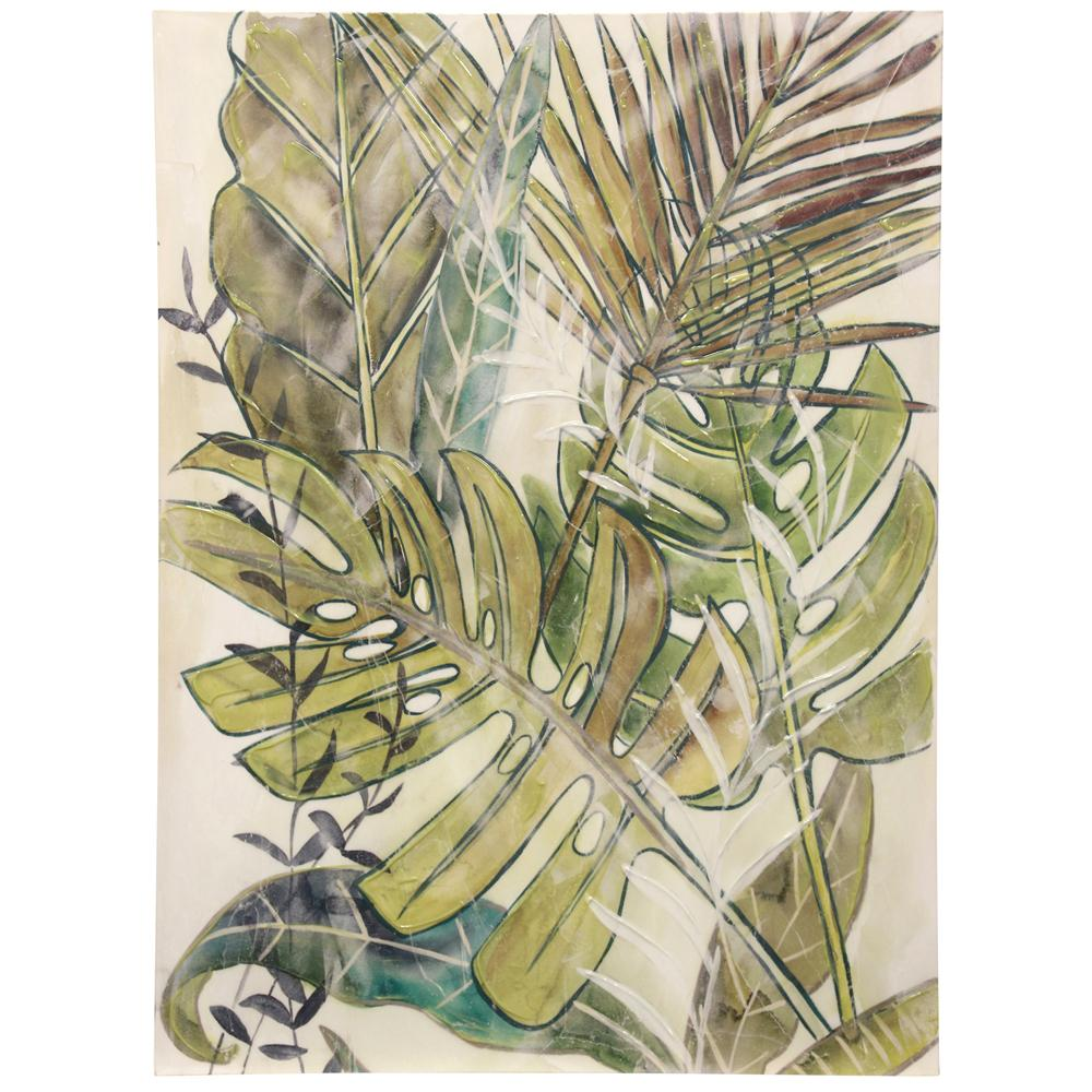 StyleCraft Hand-Painted Textured Tropical Palm Leaf Leaf Hand Canvas Wall Art was $162.99 now $63.92 (61.0% off)