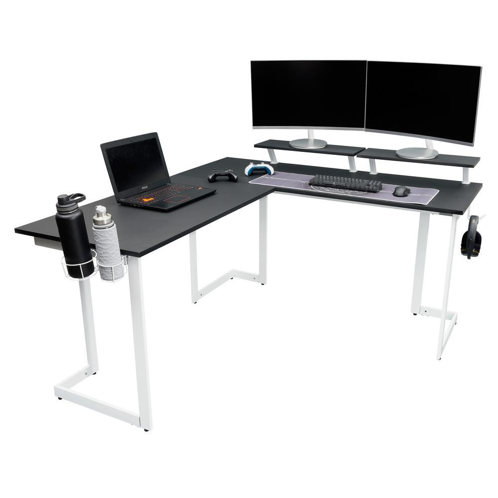59 in. L-Shaped Black/White Computer Desk with Adjustable Shelves