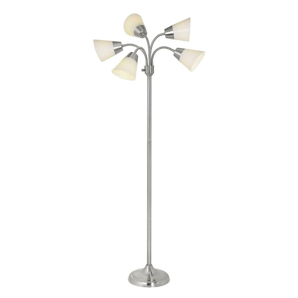 Hampton bay 66 in satin nickel floor lamp with 5 plastic bell satin nickel floor lamp with 5 plastic bell shades aloadofball Choice Image