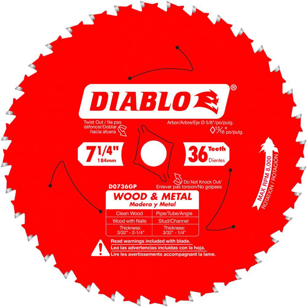 Diablo 7 1 4 In X 36 Tpi Wood And Metal Carbide Saw Blade D0736gpr The Home Depot