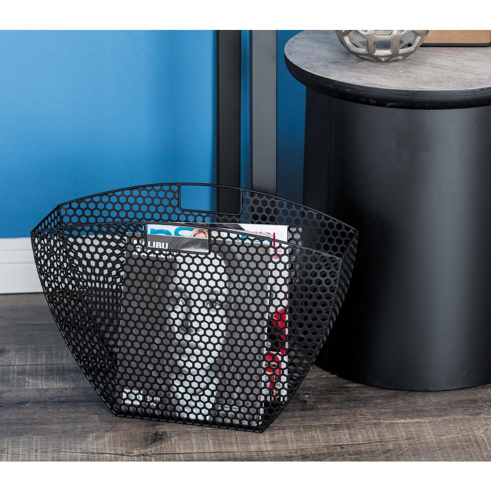 Modern Metal Honeycomb Mesh Magazine Holders in Black (Set of 2)