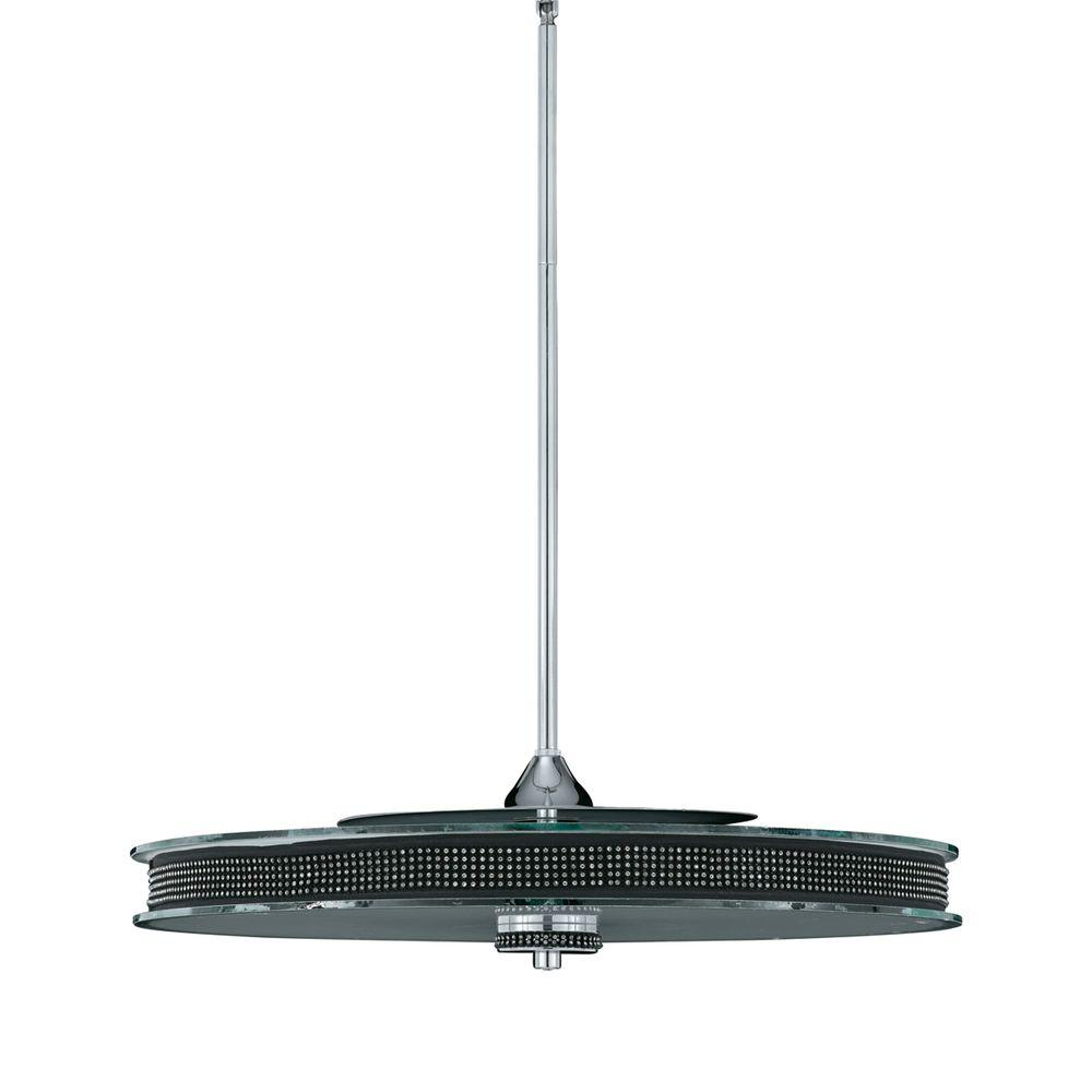 Illumine 6-Light Chrome Pendant with Rhinestones with Clear and Frosted Glass