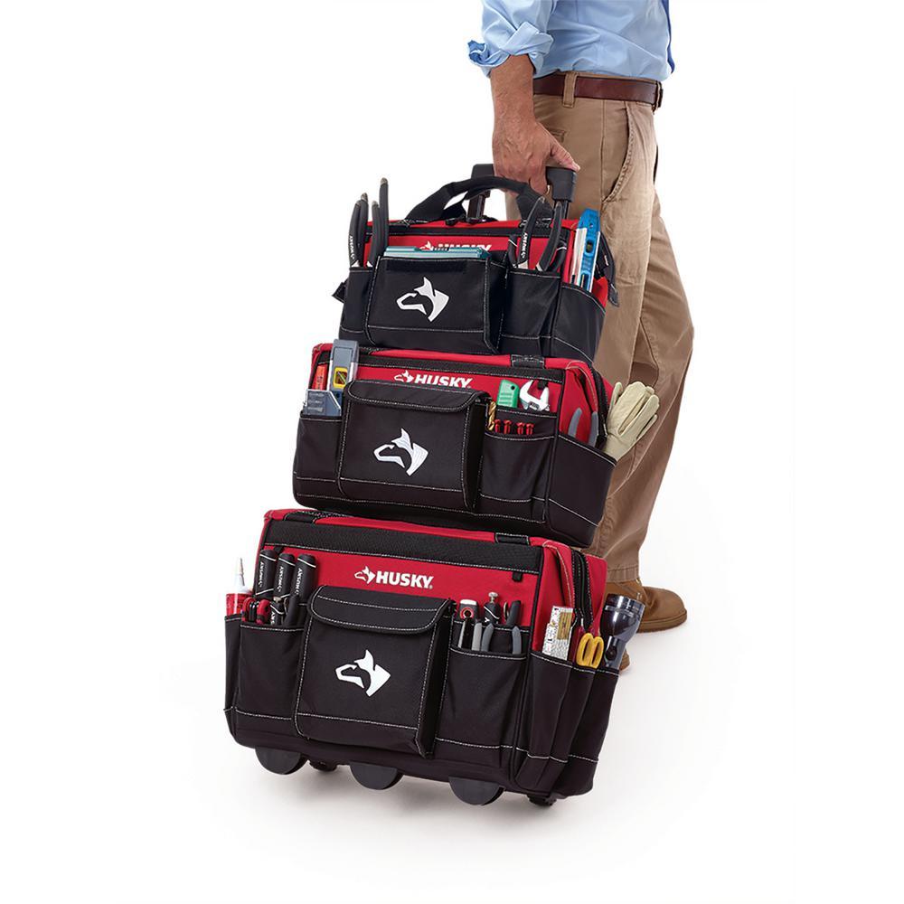 Husky 18 in. Rolling Tool Tote Bag Combo 889dac1743dd9