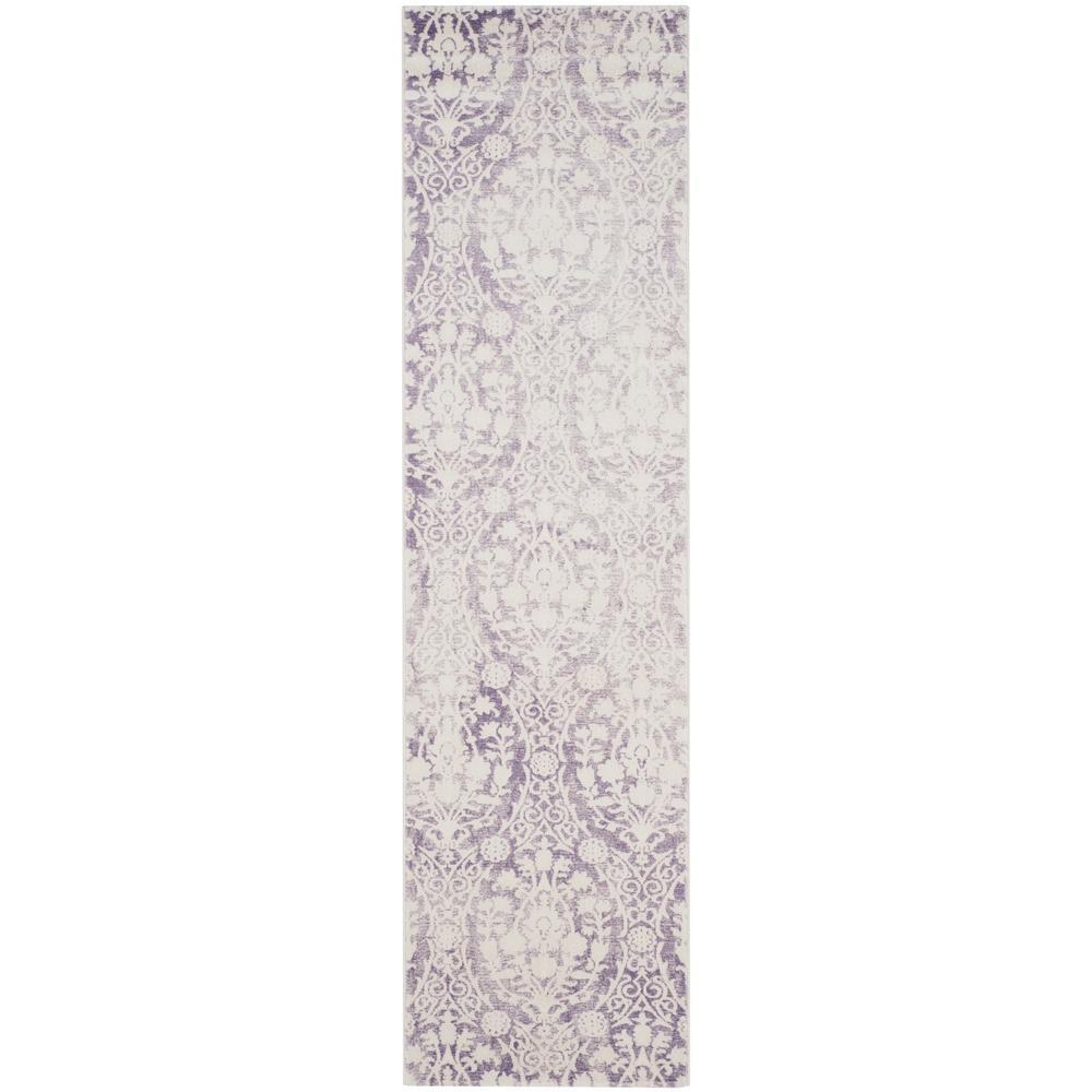 Passion Lavender/Ivory 2 ft. x 8 ft. Runner Rug