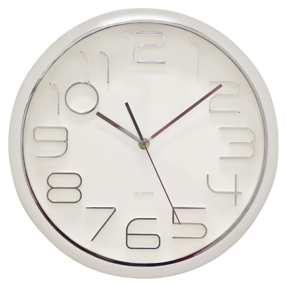 13 in. Shiny Silver Wall Clock
