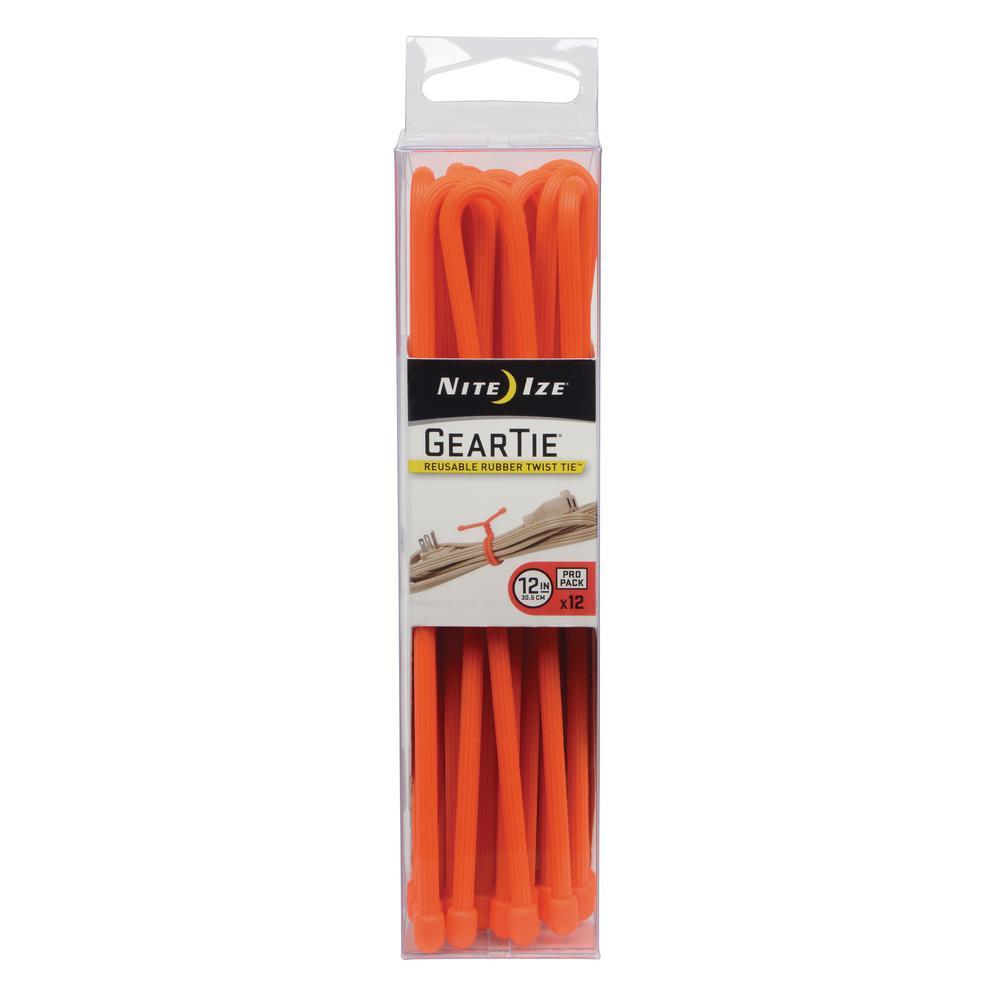 12 in. Gear Tie Propack in Bright Orange (12-Pack)