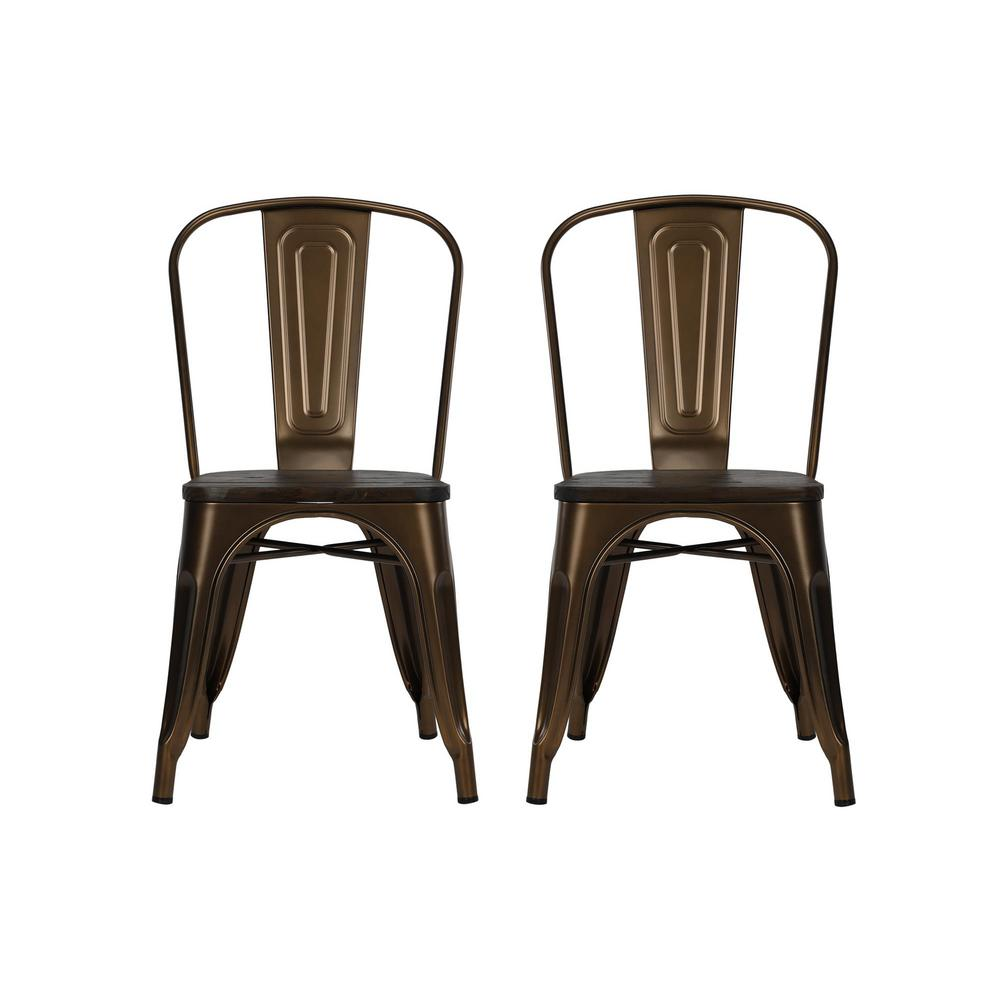 Merveilleux DHP Penelope Antique Bronze Metal Dining Chair With Wood Seat (Set Of 2)