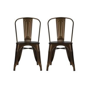 DHP Penelope Antique Bronze Metal Dining Chair with Wood Seat (Set of 2) by DHP