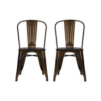 Penelope Antique Bronze Metal Dining Chair with Wood Seat (Set of 2)