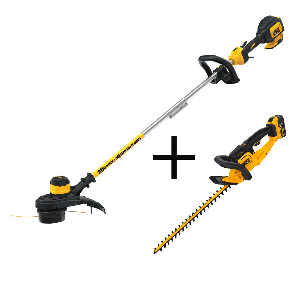 DEWALT 20-Volt MAX Lithium-Ion Cordless 13 in.Brushless String Trimmer with Bonus Hedge Trimmer, 5.0Ah Battery and Charger