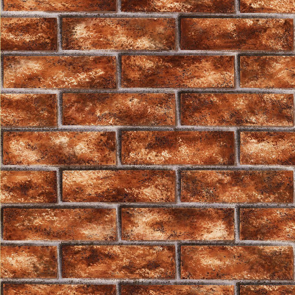 Brewster Urbania Brick Red Brick Texture Wallpaper