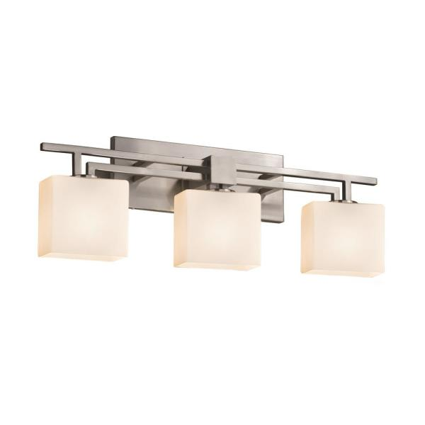 Justice Design Fusion Aero 3 Light Brushed Nickel Bath Light With Opal Shade Fsn 8703 55 Opal Nckl The Home Depot