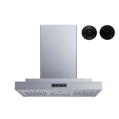 30 in. Convertible Island Mount Range Hood in Stainless Steel with Stainless Steel Baffle Filters and Carbon Filters
