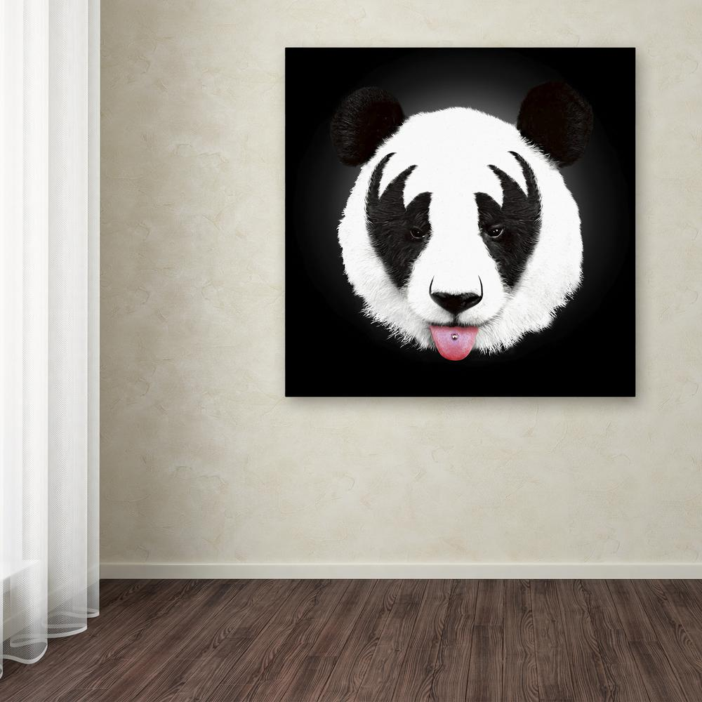"Trademark 18 in. x 18 in. ""Kiss Of A Panda"" by Robert Far..."