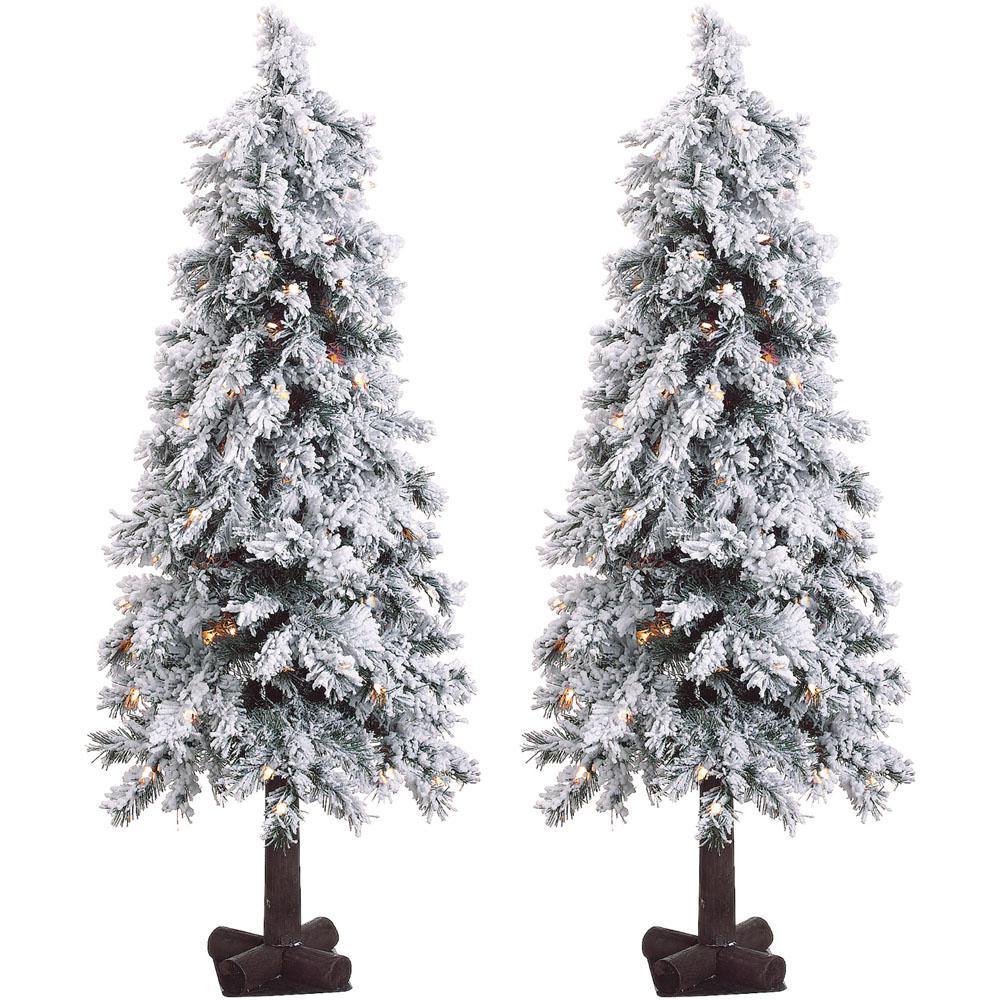 Snowy Alpine Artificial Christmas Trees with Clear Lights (Set of 2)