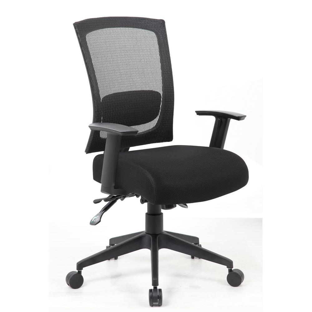 Black Fabric Adjustable Arms Executive Ergonomic Multi-Function Mesh Back Chair