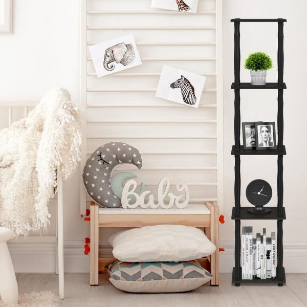 57.7 in. Espresso/Black Plastic 5-shelf Corner Etagere Bookcase with Open Storage