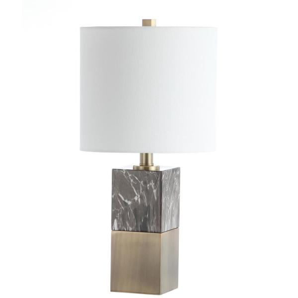 Kingsley 20.5 in. Dark Brown/Marble Table Lamp with Off-White Shade
