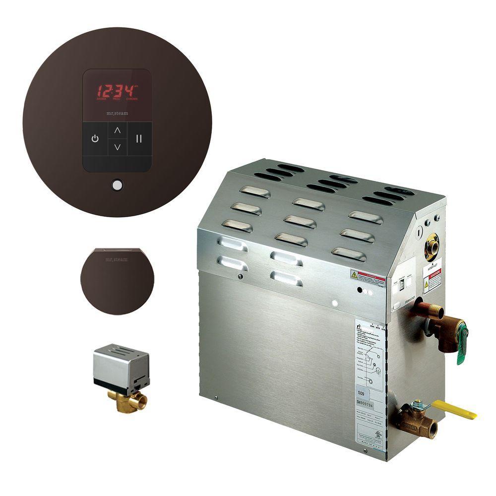9kW Steam Bath Generator with iTempo AutoFlush Round Package in Oil