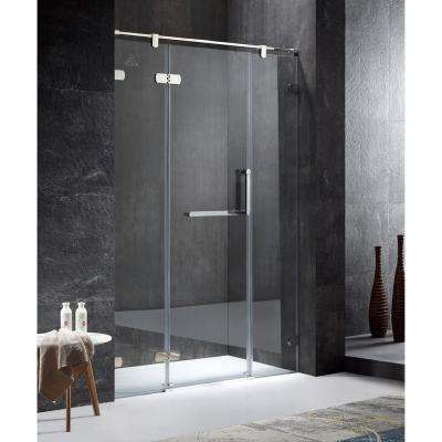 Emperor Series Left Side 55.11 in. x 78.74 in. Semi-Frameless Hinged Shower Door in Chrome with Handle
