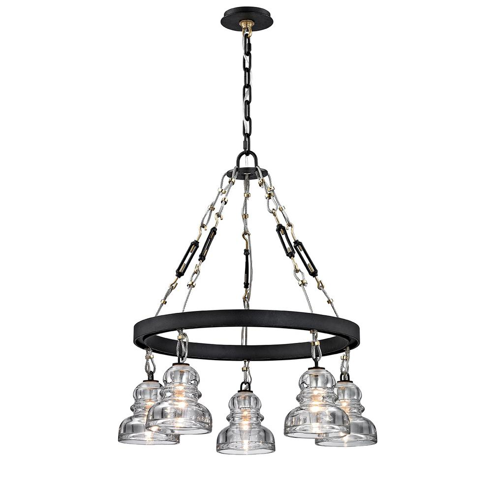 Troy Lighting Menlo 5 Light Deep Bronze Park Chandelier With Historic Clear Pressed Glass Shade