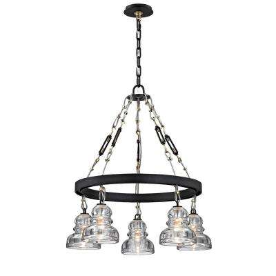 Menlo 5-Light Deep Bronze Park Chandelier with Historic Clear Pressed Glass Shade