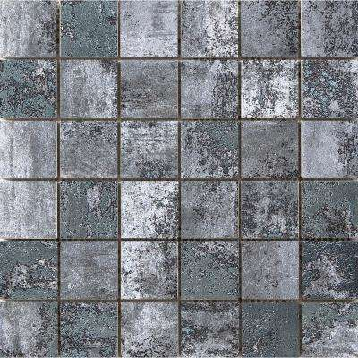 Chemistry Gray 11.81 in. x 11.81 in. x 9mm Porcelain Mesh-Mounted Mosaic Tile