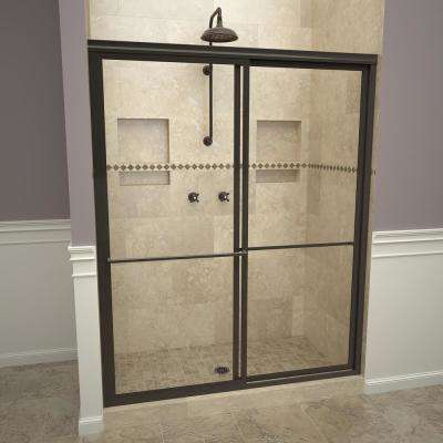 1100 Series 47 in. W x 71-1/2 in. H Framed Sliding Shower Doors in Oil Rubbed Bronze with Towel Bars and Clear Glass