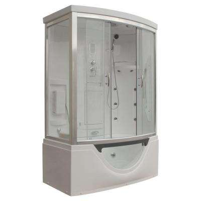 Hudson 59 in. x 33 in. x 88 in. Steam Shower Enclosure Kit with Whirlpool Tub with Right Hand Drain in White
