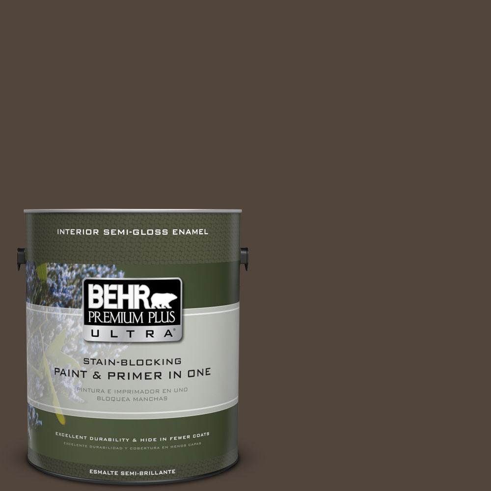 1 gal. #ECC-12-3 Shadow Wood Semi-Gloss Enamel Interior Paint and Primer